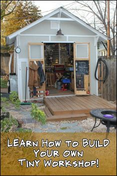 Work Freely in a Dedicated Space by Building Your Own Tiny Workshop #howtobuildashed Deck Building Plans, Building A Shed, Work Shop Building, Building A Workshop, Building Design, Building Ideas, Porches, Workshop Shed, Wood Workshop