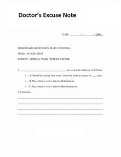 Doctor Note   21 Free Doctor Note Excuse Templates Template Lab Projects To