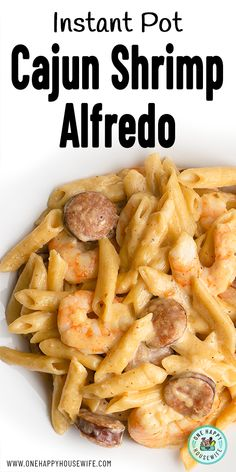 This easy Cajun Shrimp Alfredo is a must-try Instant Pot recipe. Perfectly cooked penne pasta, served with tender plump shrimp, andouille sausage, and covered in a homemade Cajun Alfredo sauce. You won't believe that it took only 20 minutes to make. Sausage And Shrimp Recipes, Shrimp And Sausage Pasta, Alfredo With Sausage, Cajun Shrimp Recipes, Penne Recipes, Easy Chicken Dinner Recipes, Instant Pot Dinner Recipes, Penne Pasta, Andouille Sausage Recipes