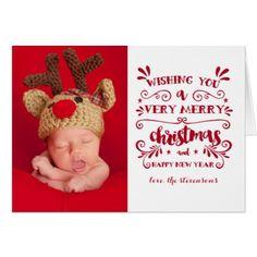Very Merry Christmas Typography Photo Card - chic design idea diy elegant beautiful stylish modern exclusive trendy