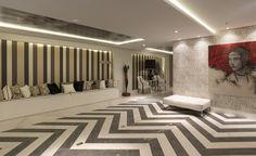 Os produtos Oxide BK e Calacata Clássico da Cerâmica POrtinari formaram essa elegante composição no chão do Hall da 16ª Sala de Arquitetos de Caxias. Esse ambiente foi feito pela arquiteta Adriane Karkon. Salas, Rooms