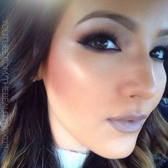 Fall/Winter Makeup. Gray lipstick?! The cheeks are amazing but too bold for be. Beautiful  dramatic smoky eye. LOVE
