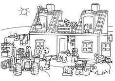Lego train station coloring page for kids, printable free. Lego ...