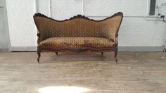 Wood Sofa, Vintage Velvet, Rustic Industrial, Carved Wood, Outdoor Furniture, Outdoor Decor, Old School, Love Seat, Carving