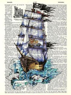 Buy Any 2 Prints get 1 Free Pirate Ship Vintage Dictionary Art Decoupage Vintage, Decoupage Paper, Vintage Diy, Vintage Maps, Book Page Art, Book Pages, Book Art, Journal D'art, Journals