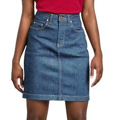 Women's Dickies Perfect Shape Jean Skirt - Christmas Deesserts Jean Skirt Outfits, Denim Shorts Outfit, Denim Skirt Outfits, Denim Skirts, Long Jean Skirts, Denim Dresses, Denim Overalls, Black Pencil Skirt Outfit, Midi Skirt Outfit