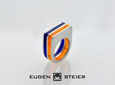 Ring Silver and Acrylic Glass riveted  from Eugen Steier Jewelry by DaWanda.com