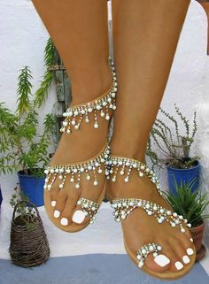 Price: 139 euros. Handmade women flat leather sandals embellished with fine, pure, cream white pearls and brilliant Czech made strass on gold plated braid. Visit our upgraded web store and get 20% OFF all your purchases !! #InnovativeGreekSandals #sandals #wedding