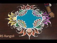 HAPPY NEW YEAR Rangoli design without dots    Beautiful Lotus New Year kolam muggulu - YouTube Rangoli Side Designs, Rangoli Designs Latest, Simple Rangoli Designs Images, Free Hand Rangoli Design, Small Rangoli Design, Rangoli Designs Diwali, Rangoli Designs With Dots, Beautiful Rangoli Designs, Latest Rangoli