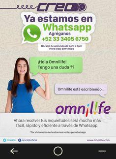 #Omnilife responde tus dudas a traves de whatsapp!! #FelizMiercoles #Informacion