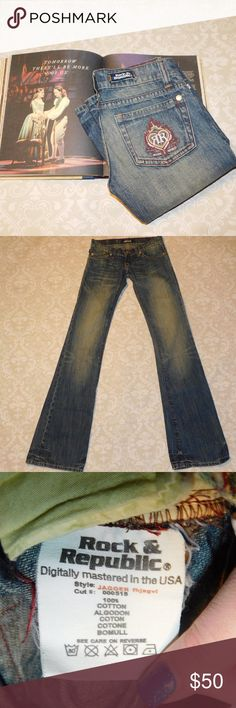 Rock & Republic Jagger Jeans Adorable Rock and Republic jeans in the style Jagger. Size 26. Excellent condition.  Measurements: Waist: 13.5 inches Rise: 6 inches Inseam: 33 inches Rock & Republic Jeans