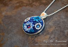 Polymer Clay Floral Necklace, Handmade Polymer Clay Pendant with Color-Changing Swarovski Crystals, Flower Jewelry, ART you can wear!