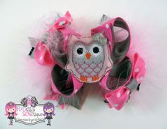 Owl Love Pink & Gray Stacked Boutique Hair Bow Pink/Gray/White/ Valentine's Day