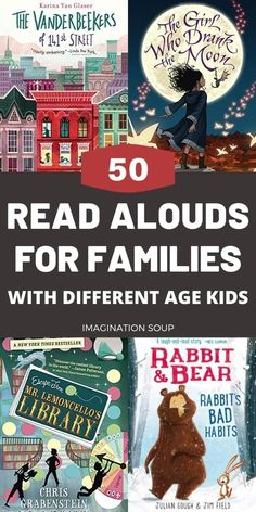 Brilliant Family Read-Aloud Books for Kids of Different Ages Find read-aloud chapter book ideas that appeal to different ages of kids for at home family reading time or while taking a road trip. Read Aloud Books, Good Books, Kids Reading, Reading Time, Reading Lists, Reading Nooks, Homeschool Books, Homeschooling, Reading Rainbow