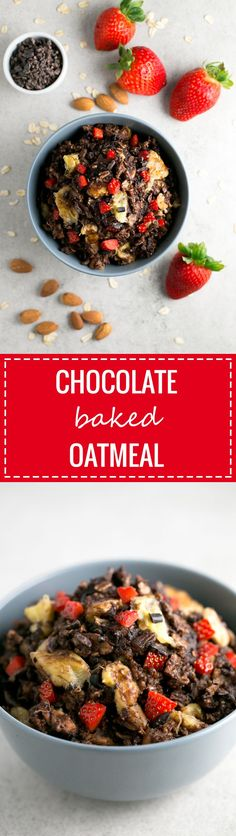 This chocolate bake oatmeal is the perfect healthy vegan breakfast recipe because its so satiating and will give you the energy you need to start your day. All clean eating ingredients are used for this healthy breakfast recipe. Pin now to make later! Vegan Oatmeal, Baked Oatmeal, Oatmeal Recipes, Banana Bread Recipes, Brunch Recipes, Vegan Recipes, Vegan Blogs, Healthy Vegan Breakfast, Healthy Foods