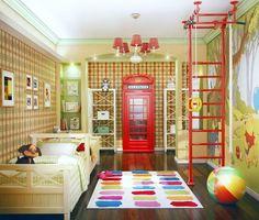 Детская со шведской стенкой, плюс идея стен в клточку, шкафы-этажерки наперекрест, шкаф-телефонная будка
