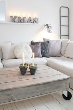 I like the neutral colors of both coffee table and couch - ruthie ♂ Neutral color home deco nature wood Home Living Room, Living Spaces, Vibeke Design, Diy Casa, Minimalist Christmas, Home And Deco, Pallet Furniture, Furniture Ideas, Entryway Furniture
