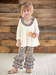 6f7e6c3cb2 Christmas Dresses · FABULOUS Peaches n Cream Ivory Leopard GOLDEN HOLIDAY  Leggings Set Girls (sz 2T-6X
