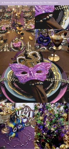 Mardi Gras table from Tablescaper http://www.bellenza.com/wedding-ideas/decorate/bring-mardi-gras-revelry-to-your-rehearsal-party-tables-part-1.html