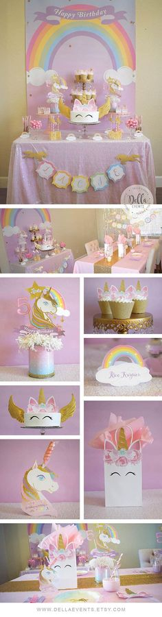 Unicorn Invitation Unicorn Invite Pink and Gold Rainbow