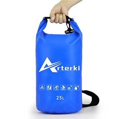 Waterproof Dry Bag 25L Lightweight Roll Top Sack for BoatingKayakingFishingBeachRaftingSwimmingCampingCanoeing and Snowboarding with Long Adjustable Shoulder StrapBlue ** Check out the image by visiting the link.Note:It is affiliate link to Amazon.