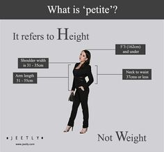 What is 'petite'? ...In the fashion industry, 'petite' refers to stature not weight. Please share this so we can educate the world. To those who re-pin, we salute you, thanks!! http://www.jeetly.com/what-is-petite #petite