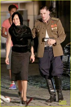 Tom Hardy & Noomi Rapace: 'Child Set with Joel Kinnaman!: Photo Tom Hardy dons a military uniform while filming scenes for his upcoming thriller flick Child 44 with his co-star Noomi Rapace on Sunday (July in Prague, Czech… Tom Hardy Children, Tom Hardy Variations, Tinker Tailor Soldier Spy, New James Bond, Noomi Rapace, Joel Kinnaman, Army Clothes, Film Life, Thing 1