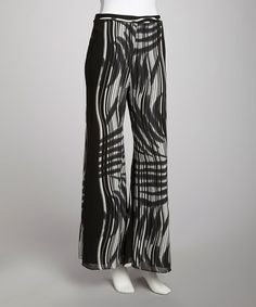 Take a look at this Black & White Wide-Leg Pants by Samuel Dong on #zulily today! $28 !!
