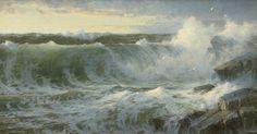William Trost Richards (American, 1833-1905), Rocky Surf off Rhode Island, 1899. Oil on canvas, 18 x 34 in.