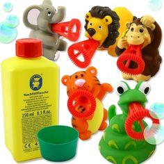 """Pustefix Mini Bubbelix """"Safari"""" für 5 Kids, für Safari Themengeburtstag, 5 Tiere, 250ml Flüssigkeit, 1 Kappe"""