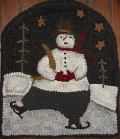 I think this is the cutest pattern. It is a Country Stitches pattern. Yesterday I dyed the wool for the snow, it turned out just the way I. Christmas Rugs, Primitive Christmas, Rug Hooking Patterns, Rug Patterns, Hand Hooked Rugs, Penny Rugs, Wool Applique, Cool Rugs, Wool Felt