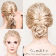 "Sam Villa on Instagram: ""THE BRAIDED FLOWER BUN Full tutorial coming SOON by @theconfessionsofahairstylist Stay tuned... #samvilla #samvillahair #confessionsofahairstylist #flower #braid #braids #upstyles #hair #beauty #hairstyles #promhair #weddinghair #flowerbraid #bun #blonde #stylist #hairstylist #hairdresser"""