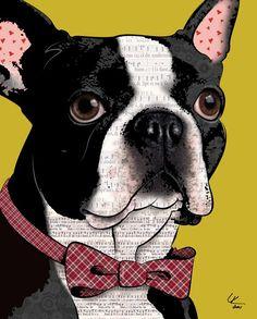 "Boston Terrier, 8x10"" Pop Art Print, Dog Art"
