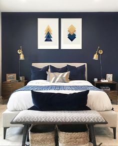 ideas home decored ideas modern bedroom interior design Home Decor Bedroom, Bedroom Inspirations, Home Bedroom, Wall Lamps Bedroom, Bedroom Interior, Luxurious Bedrooms, Blue Bedroom, Home Decor, Mid Century Modern Bedroom