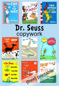 Dr Seuss - handwriting practice by Montessori Tidbits