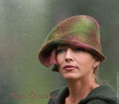 """Купить """"Лист и ветер"""" из коллекции """"Игра в импрессионизм"""" - разноцветный, абстрактный, экстравагантная шляпка, шляпка с вуалью"""