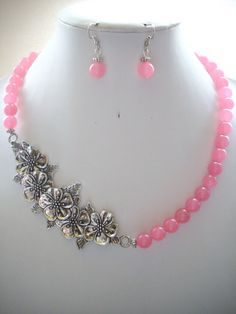 Blush Pink Jade Bead Necklae with Large by DesignsbyPattiLynn, $60.00