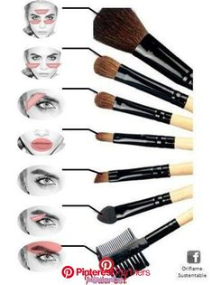 Maquillage /make up Paint brushes Wedding Flowers: Helpful Tips For Doing It Yourself Flowers play a Makeup Brush Uses, Makeup Guide, Eye Makeup Tips, Contour Makeup, Eyebrow Makeup, Skin Makeup, Make Up Kits, Make Up Tutorial Contouring, Makeup Order