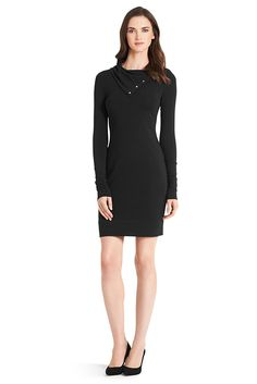 Our knit Turtle dress is a versatile piece for the season. Fitted throughout with snap closure at neck. Pull on style. Fit is true to size.