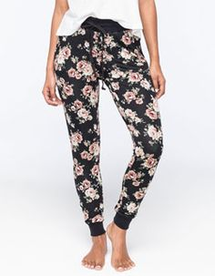 FULL TILT Floral French Terry Womens Jogger Pants