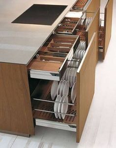 Large storage capacity for these kitchen drawers - Interior - . - Large storage capacity for these kitchen drawers – Interior – one # kitc - Diy Kitchen Storage, Kitchen Drawers, Kitchen Sets, Home Decor Kitchen, Kitchen Organization, Kitchen Interior, New Kitchen, Home Kitchens, Organization Ideas