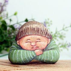 boy sleeping Stone painting. - ดีไซเนอร์ Is.ideastone - Pinkoi