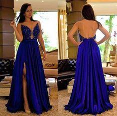 3f5d9be60 Livia Fashion Store. VESTIDO AZUL ROYAL TOMARA QUE CAIA COM FENDA BORDADO K  9D7HPY3T2