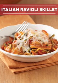 You can never go wrong with a classic Italian Ravioli Skillet dinner! PIN and SAVE this recipe for dinner in a pinch!
