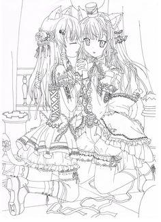 Line art manga neko girls by sakuranohana1980.deviantart.com on @deviantART