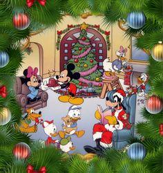 Christmas - Disney - Mickey & Minnie Mouse & Friends Disney Merry Christmas, Mickey Mouse Christmas, Mickey Minnie Mouse, Christmas Art, Disney Mickey, Vintage Christmas, Xmas, Walt Disney, Christmas Cartoon Movies