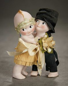 """A Time For Gratitude"" - Sunday, November 13, 2016: 53 German All-Bisque Kewpie Huggers as Bride and Groom"