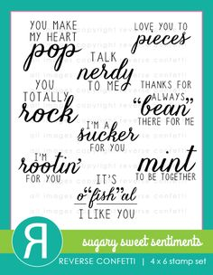 """Set of 9 stamps  SIZE REFERENCE:  """"Mint to Be…"""" sentiment 1.67 x .93""""  """"Talk Nerdy To Me"""" sentiment 1.55"""" x 1.02""""  Reverse Confetti stamps are high quality photopolymer mounted on an acetate sheet.  4""""x 6"""" stamp set  All images copyright © ..."""
