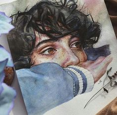 Image about boy in Stranger Things by Alexa Arreola - Imagen de art, finn wolfhard, and draw - Art Drawings Sketches, Cool Drawings, Sketch Art, Watercolor Portraits, Watercolor Paintings, Watercolour, Arte Sketchbook, Art Hoe, Aesthetic Art