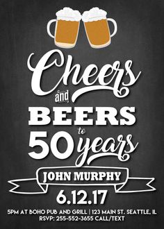 Birthday Invitations Men Birthday Invites Cheers and Beers